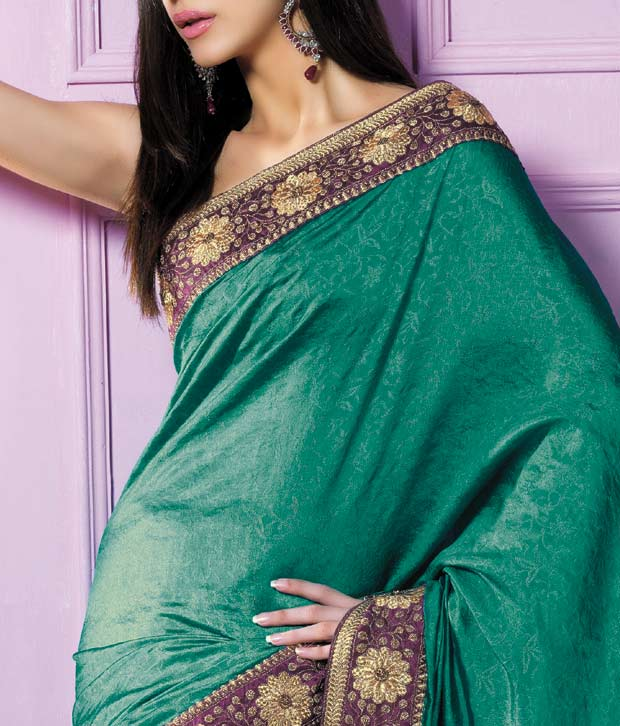 Parvati Sarees Sea Green Silk Jacquard Embroidered Saree