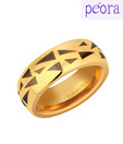 Peora Exquisite Golden & Black Tungsten Ring