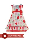Nauti Nati Red & White Tulip Printed Dress For Kids