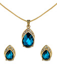 Oleva Faceted Pear Shape Blue Stone Pendant Set