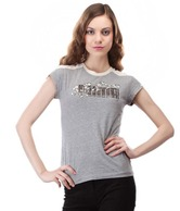 Puma Enchanting Grey-Cream Printed Cotton T-Shirt