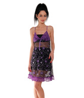 Affair Perky Purple-Black Embroidered Nighty With Panty