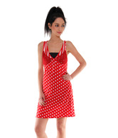 Affair Attractive Red Polka Dots Printed Nighty