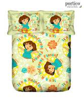 Portico New York Dora Green Kids Bedsheet Set- Single