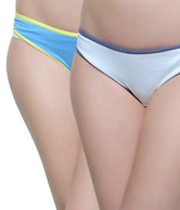 About U Turquoise Blue-White Panty Combo Pack  of 2