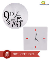 Cosmosgalaxy Classy Silver Wall Clock Combo - Buy 1 Get 1 Free