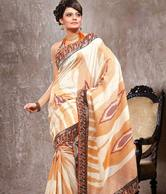 Fnf Wonderful White And Orange Bhagalpuri Silk Sarees