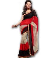 FabDeal Red & Black Georgette Abstract Printed  Saree