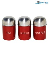 Home & You Stunning Red Canister Set - 3 Pcs