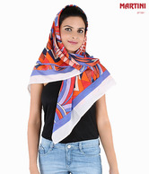 Martini Blue & Orange Abstract Print Bizarre Scarf