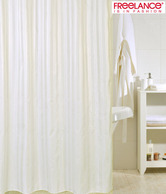 Freelance Striped White & Beige Shower Curtain