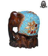 Ratoomal's Dark Brown Elephant With Baby Showpiece