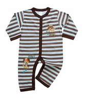 Mums 'n' Babies Blue and Brown striped full bodysuit