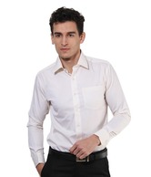 Mushky Cream Full Sleeves Men's Shirt