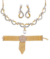 Oleva AD Studded Necklace Set & Bracelet Combo