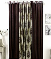 Dekor World Set Of 3 Damask Brown Jacquard Eyelet Curtains