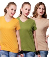 Softwear Mustard-Olive Green-Beige Tees Pack Of 3