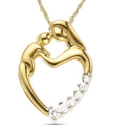Kiara Mom & Child Heart CZ Decorated Silver Pendant