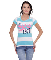 Spictex Aqua Blue-White Cotton Printed T-Shirt