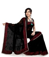 Designersareez Black Faux Georgette Embroidered Saree