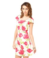 Harpa Cute Coral Red-White Printed Cotton Dress