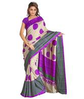 Aabha Purple-Champagne Art Silk Printed Saree