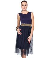 1 to 1 Navy Blue Lycra Long Embellished Waist Dress