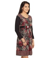 109°F Striking Black-Red Cotton Dress