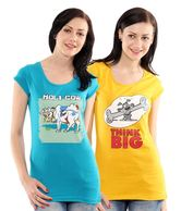 T-Go Yellow & Pink & Blue Cotton Tees Pack Of 3