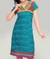 Aaneri Sea Green Block Printed Kurti