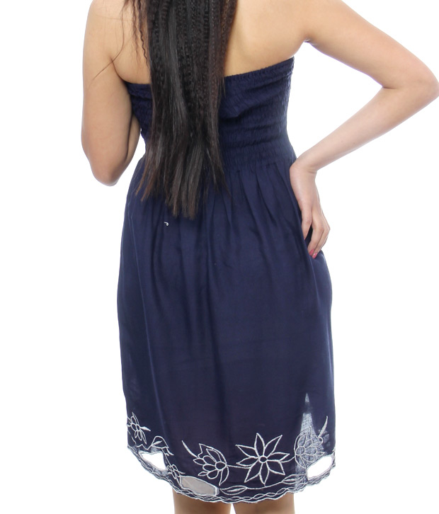 Fashionista Trendy Navy Blue Tube Dress