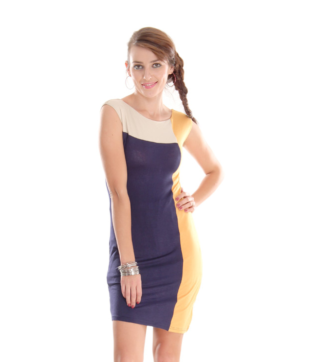 AND Mustard-Blue Colour Block A-Line Dress
