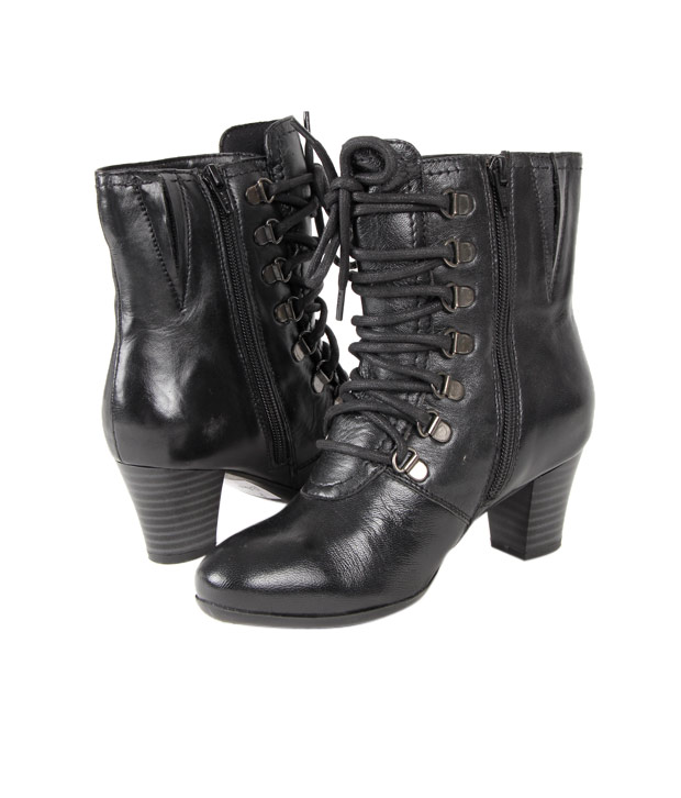 Euro Enticing Black High Ankle Length Boots