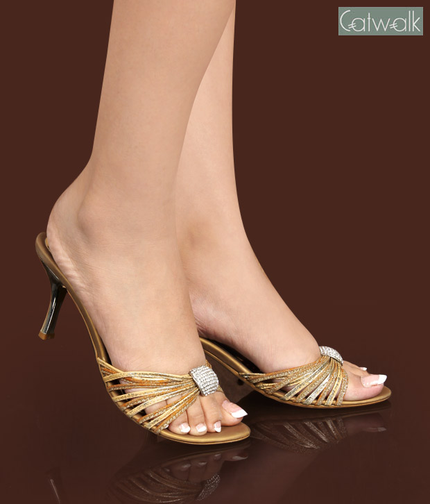 Catwalk Glittering Golden Heel Sandals
