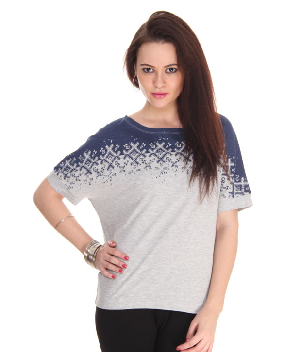 Denizen Grey-Blue Printed Top