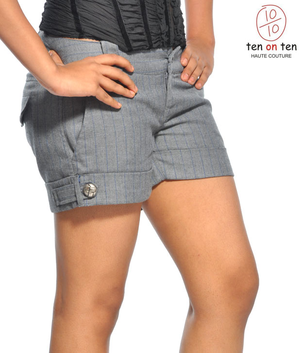 Ten On Ten Grey Shorts- Ft-497