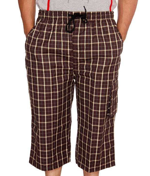 Happy Hours Checkered Brown Capri