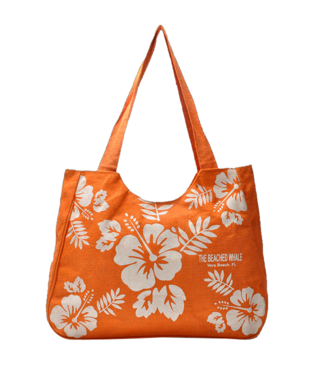 Jute Planet Orange & White Floral Handbag