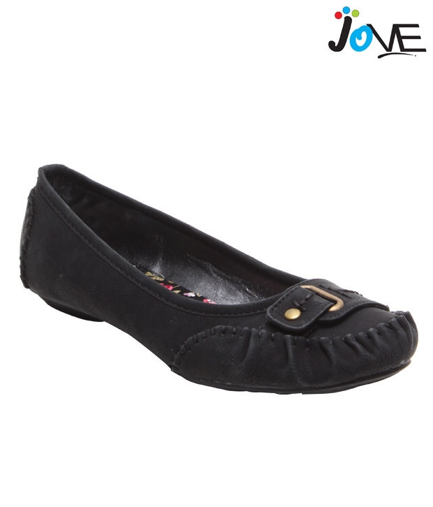 Jove Black False Stitch Ballerinas