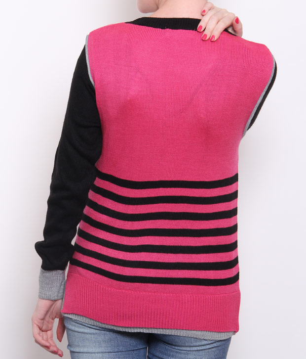 Fort Collins Pink-Black Woollen Top