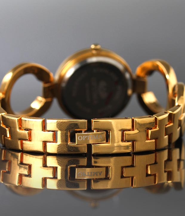 Optima Stylish Gold Studded Bracelet Watch