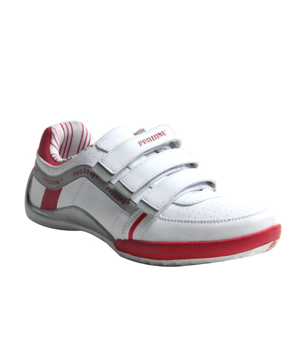 Prozone Best White & Red Mesh Sports Shoes