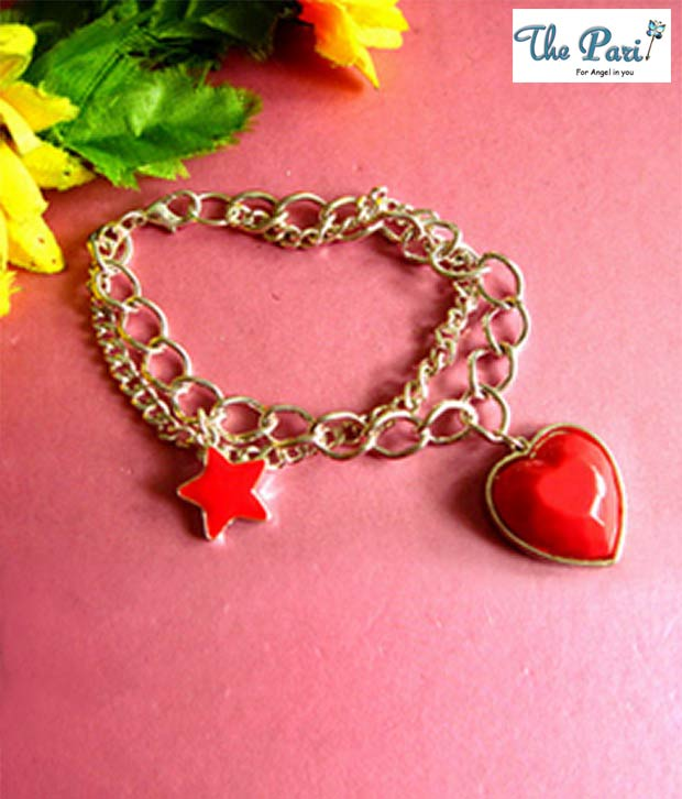 Pari Red Heart & Star Golden Chain Bracelet