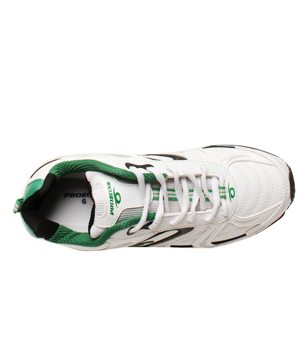 Prozone Smart White & Green Sports Shoes