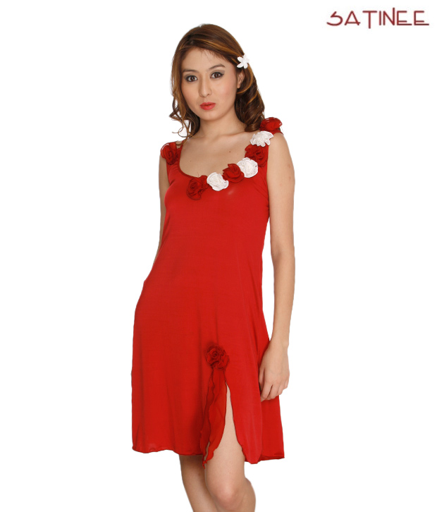 Satinee Hot Red Baby Doll Dress