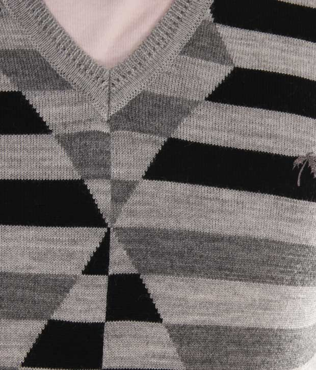 Fabtree Grey & Black Designer Striped Sweater