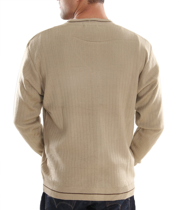 Fabtree Light Brown Full Button Sweater