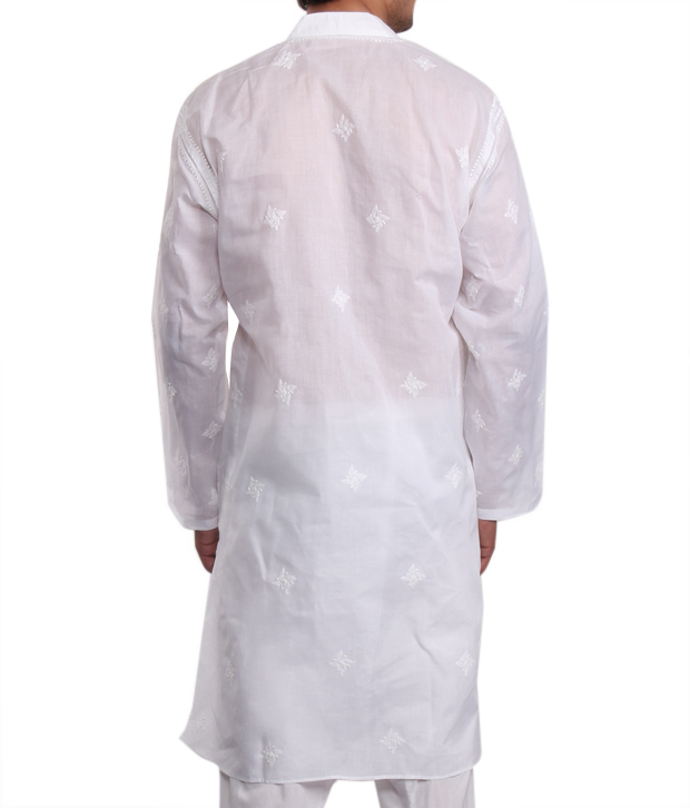 Chikan Plus Smart White Men's Kurta
