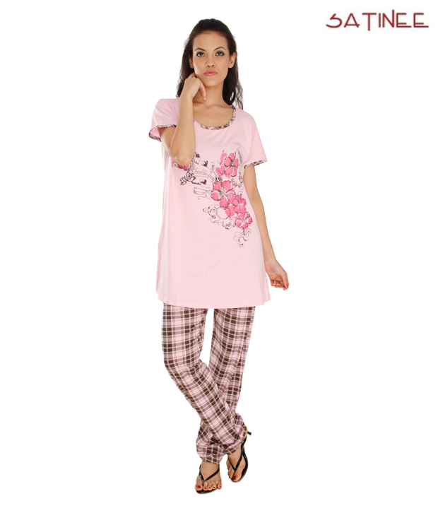 Satinee Light Pink Cotton Viscose 2 Pc Check Night Suit