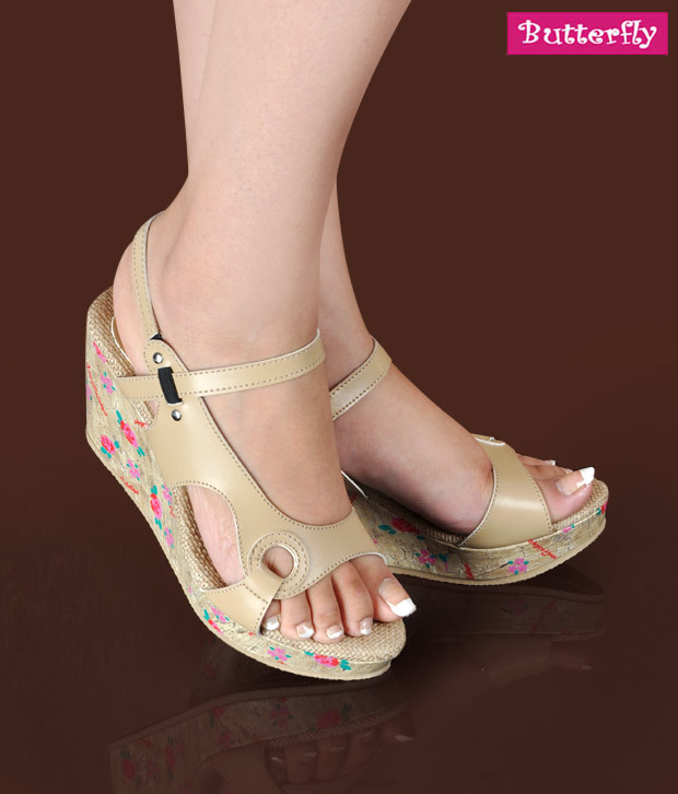 Butterfly Cool Beige Wedge Heel Sandals